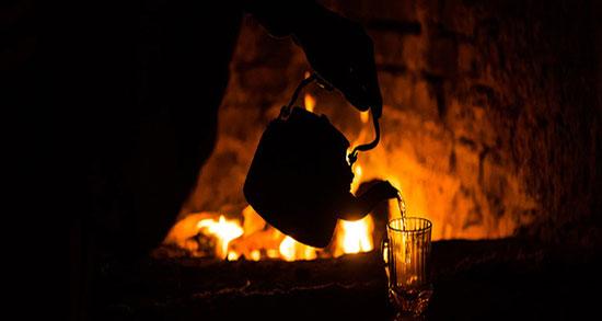 متن در مورد آتش و شب ، خاکستر و گرمای آتش و سوختن + آتش و چای و سرما